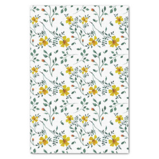 Cute Delicate Yellow Spring Flowers Pattern Tissue Paper