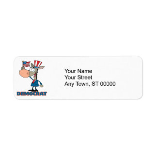 cute democratic donkey cartoon character return address label