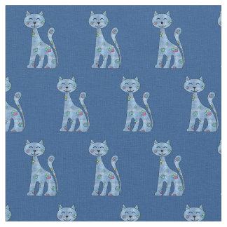 Cute Denim n Flowers Cartoon Cat Fabric