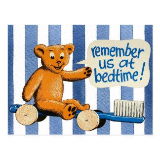 Cute Dental Bear - Blue Stripes Postcard