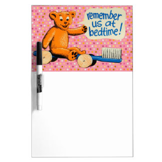 Cute Dental Bear - Pink Polka Dots Dry-Erase Whiteboards