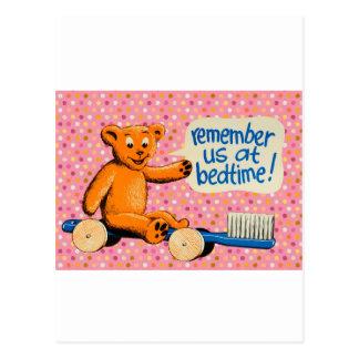 Cute Dental Bear - Pink Polka Dots Postcard