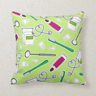 Cute Dentist / Dental Hygienist Print Green Purple Throw Pillow
