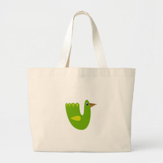 Cute designs with Green bird Large Tote Bag