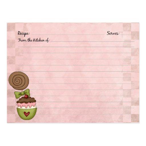 Cute Dessert Recipe Cards Postcard