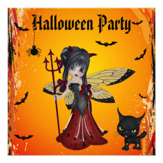 Cute Devil Girl Flower Fairy & Cat Halloween Announcement