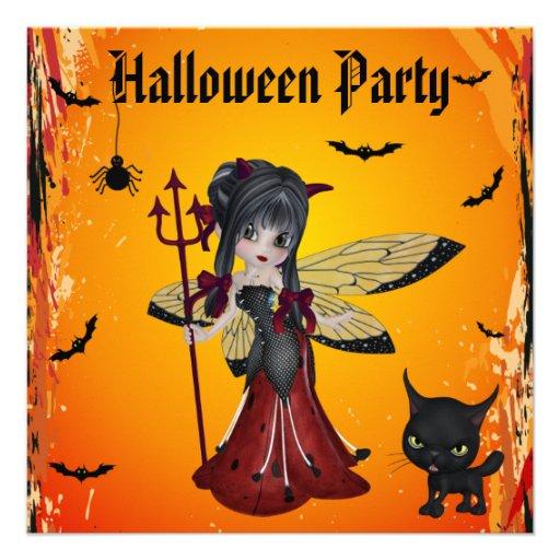 Cute Devil Girl Flower Fairy & Cat Halloween Announcement