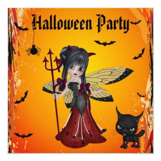 Cute Devil Girl Flower Fairy & Cat Halloween 13 Cm X 13 Cm Square Invitation Card
