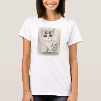 Cute Devil Kitten, Little Red Horns Cat Art Tshirt