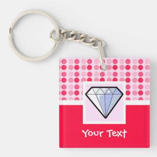 Cute Diamond Double-Sided Square Acrylic Key Ring