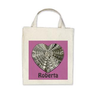 Cute Diamond Heart Pink Grocery Tote Bag
