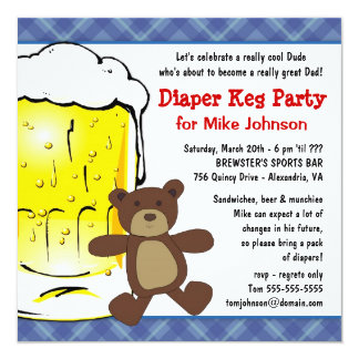 "Cute Diaper Keg Party Invitations - Dadcelor Party 5.25"" Square Invitation Card"