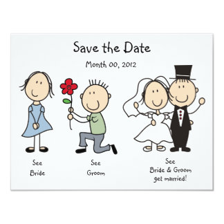 Cute Dick and Jane Save the Date Cards 11 Cm X 14 Cm Invitation Card