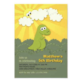 Cute Dino Trex Sunshine Children Birthday Invite