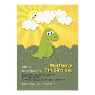Cute Dino Trex Sunshine Children Birthday Invite