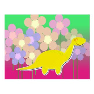 Cute Dinosaur and Flowers Postcard