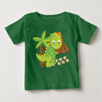 Cute Dinosaur and Volcano baby boy t-shirt