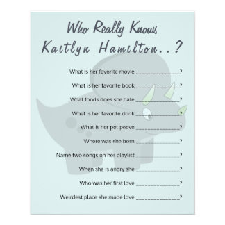Cute Dinosaur | Baby Shower Question Game Humor Flyer