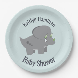 Cute Dinosaur | Baby Shower To Honor the New Mom Paper Plate
