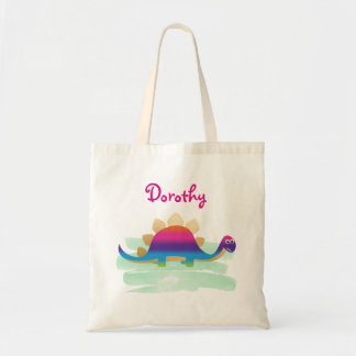 Cute Dinosaur Below Person's Name Tote Bag