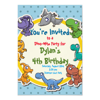 cute Dinosaur Birthday Party Card