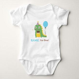 Cute Dinosaur Birthday Party Rawr I am One Baby Bodysuit