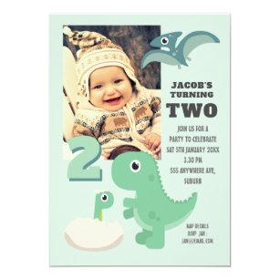 Cute Dinosaur Boys 2nd Birthday Photo Invitation