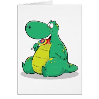 Cute dinosaur eating lollipop candy card