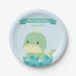 Cute Dinosaur in Egg Baby Shower Party Supplies 7 Inch Paper Plate