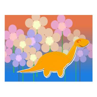 Cute Dinosaur in Flower Field Postcard