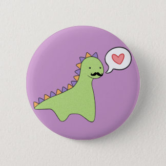 Cute Dinosaur Mustache 6 Cm Round Badge