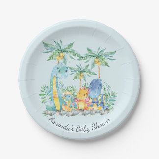 "Cute Dinosaurs Baby Shower 7"" Plate"