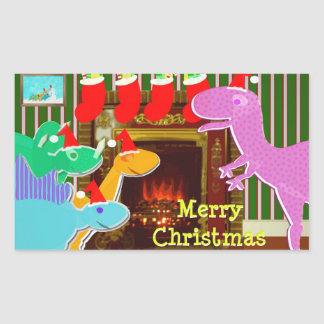 Cute Dinosaurs by the Fireplace Christmas Stickers