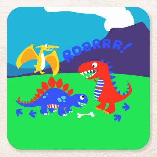 Cute dinosaurs square paper coaster