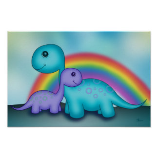 Cute Dinosaurs with Colourful Rainbow Poster
