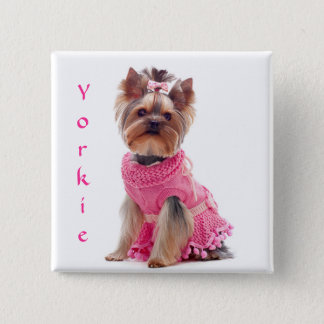 Cute Diva Yorkie Yorkshire Terrier Square Pin