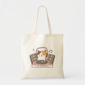 Cute DJ Scratch Kitty Cat Pun Humor Tote Bag