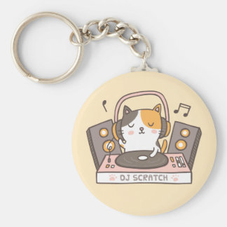 Cute DJ Scratch Kitty Cat Pun Keychain