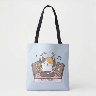 Cute DJ Scratch Kitty Cat Tote Bag