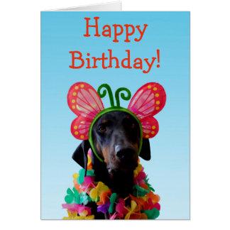 Cute Doberman dog butterfly birthday Card