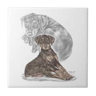 Cute Doberman Pinscher Puppy Ceramic Tile