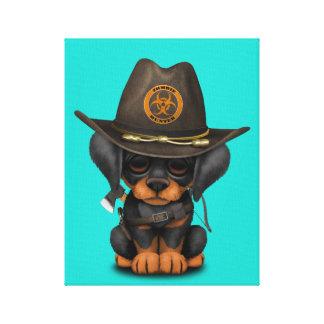 Cute Doberman Puppy Zombie Hunter Canvas Print