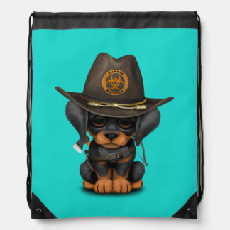 Cute Doberman Puppy Zombie Hunter Drawstring Bag