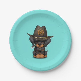 Cute Doberman Puppy Zombie Hunter Paper Plate