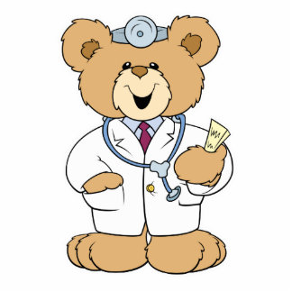 Cute Doctor Teddy Bear Standing Photo Sculpture