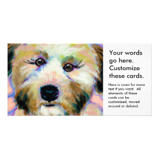 Cute dog adorable face fun colorful art painting photo greeting card