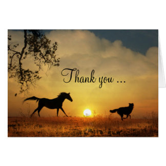 Cute Dog and Horse Running Thank You Card