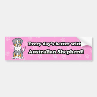 Cute  Dog Australian Shepherd Bumper Sticker