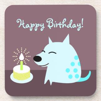Cute Dog & Birthday Cake Drink Coaster