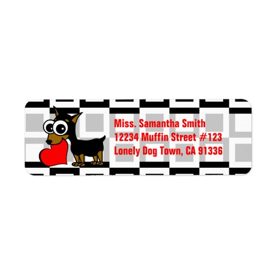 Cute Dog Black & White & Red Return Address Labels